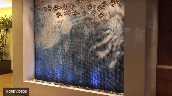Tile Mosaic Water Wall Waterfall at Hyatt Place Waikiki Honolulu Hawaii Amazing Beautiful