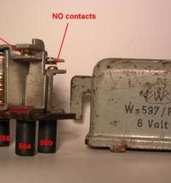 the terminals on the relay are wired internally as follows 57 and 31 to the two ends of the coil 30 56 to the hinged plate which holds the lower contact  [ 2048 x 1174 Pixel ]
