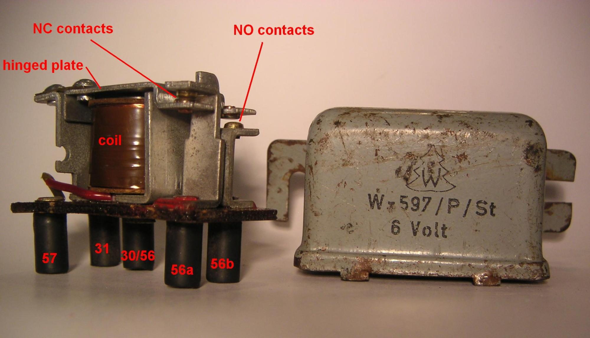 hight resolution of the terminals on the relay are wired internally as follows 57 and 31 to the two ends of the coil 30 56 to the hinged plate which holds the lower contact