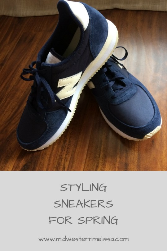 89854b61cdb Today I am styling sneakers two ways for spring. Retro-inspired sneakers  from New Balance have become popular lately and look great when styled  casually.