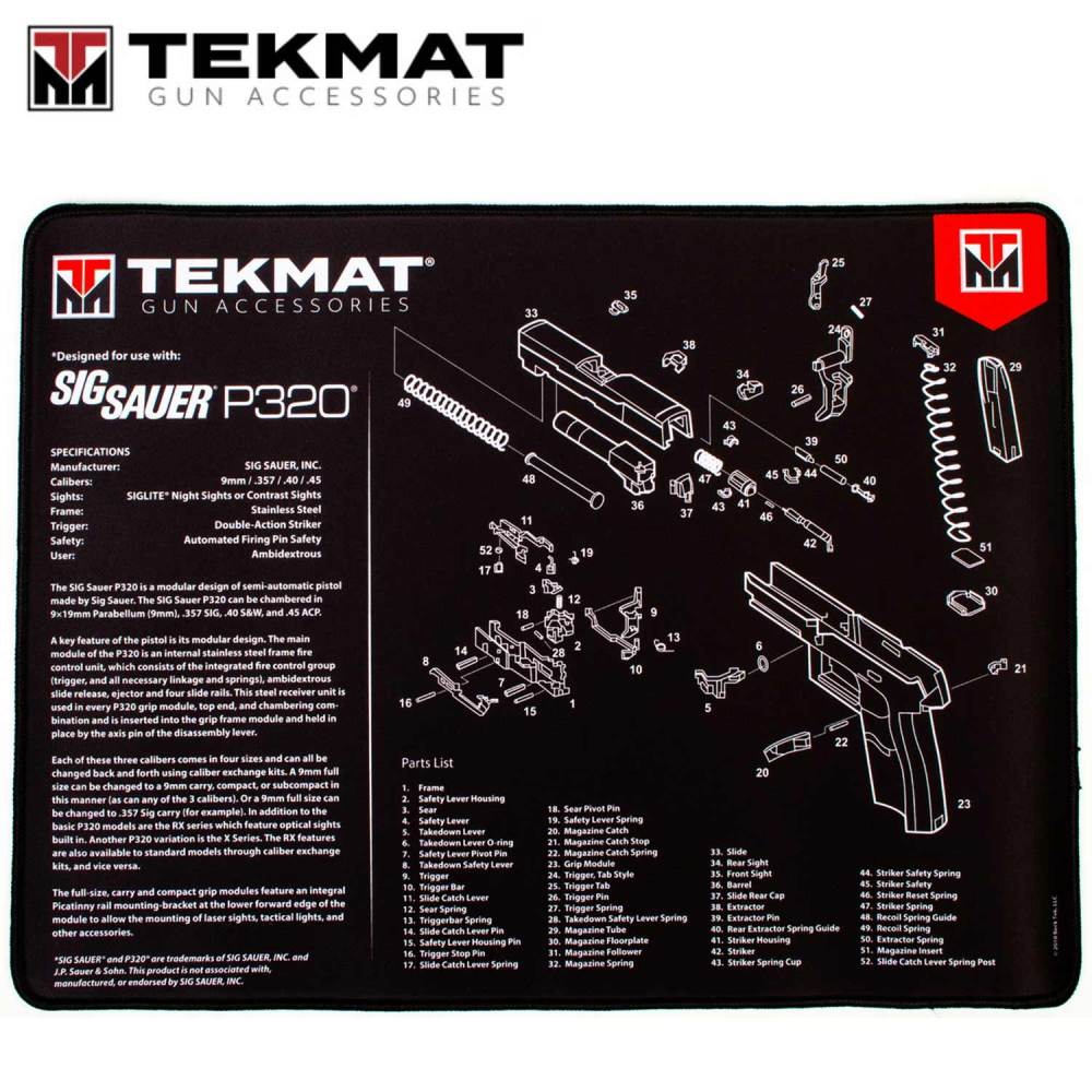 medium resolution of tekmat sig sauer p320 15 x20 premium gun cleaning mat black