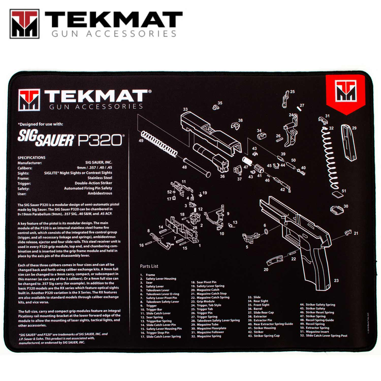hight resolution of tekmat sig sauer p320 15 x20 premium gun cleaning mat black