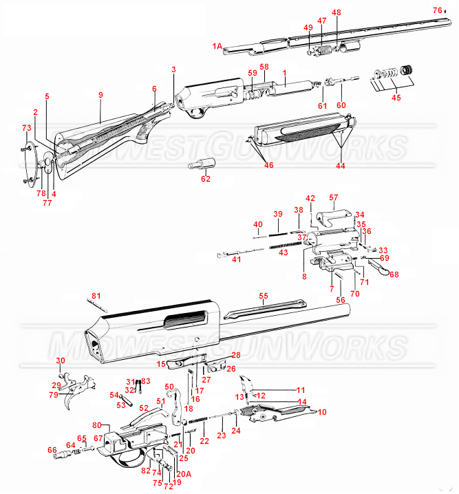 Browning Auto 5 Shotgun Parts Diagram, Browning, Free