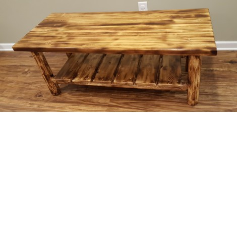 northern torched cedar log coffee table