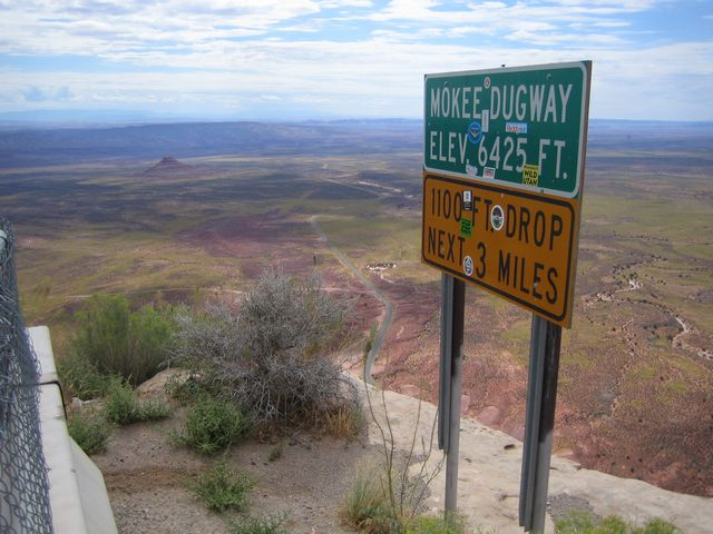 Moqui Dugway, from the rim -- see the road at the bottom, in the middle of the picture