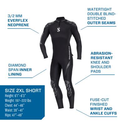 scubaro everflex 3/2 men's wetsuit