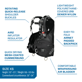 Scubapro GO, Travel Friendly BCD, With Air 2