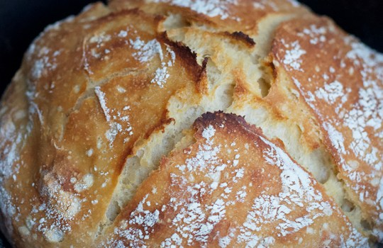 Crusty Easy No-Knead White Bread