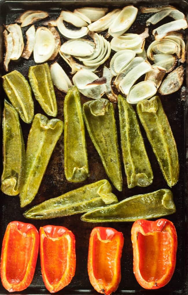 Roasted veggies on a sheet pan