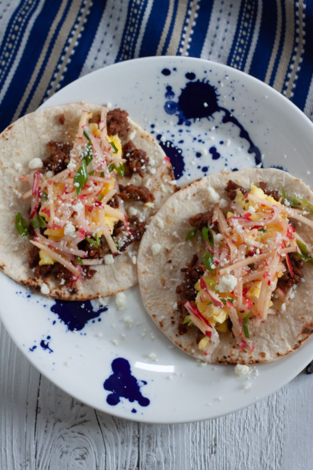 Chorizo Breakfast Tacos with Apple Radish Slaw