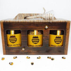 pack regalo botes tarros miel y polen natural y puro abeja obrera