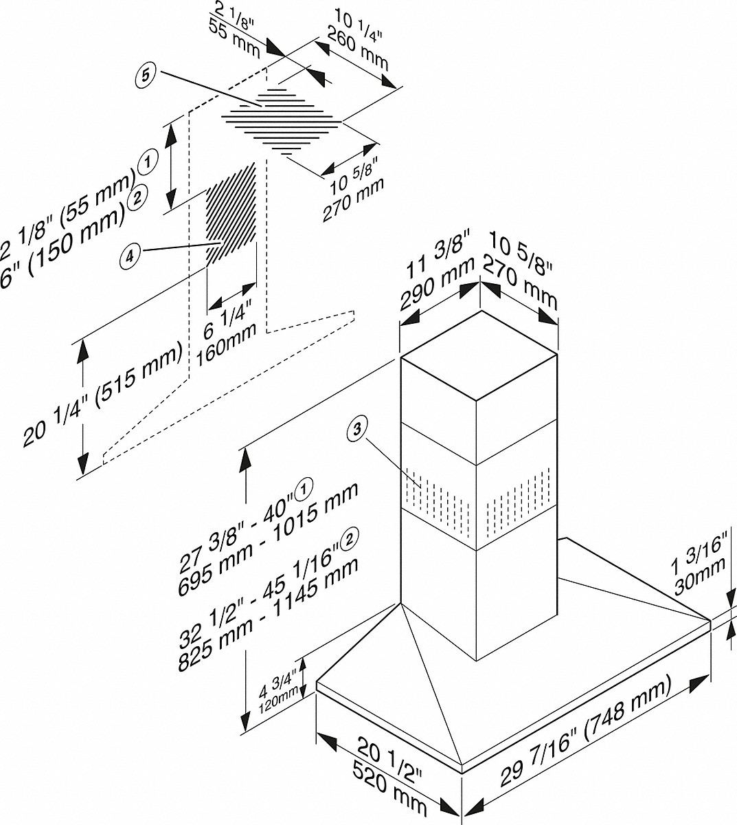 Miele DA 398-7 Classic 30-inch wall-mounted ventilation hood