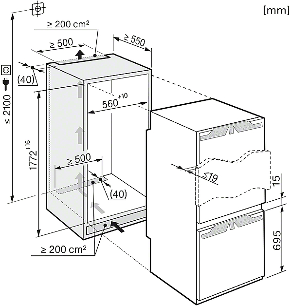 Miele KFNS 37452 iDE Built-in fridge-freezer combination