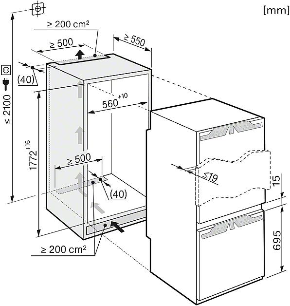 Miele KFN 37232 iD Built-in fridge-freezer combination