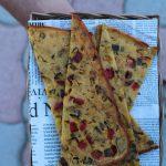 Farinata {di ceci} con verdurine in agrodolce e uvette