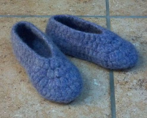 Crocheted Fulled Wool Slippers