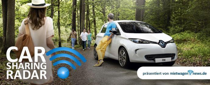 Carsharing-Radar: Renault Zoe und andere Elektrofahrzeuge werden bei Carsharing Anbietern immer beliebter