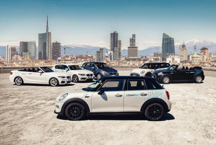 Die Mailänder DriveNow-Flotte zum Start - Mini Cabrio, Drei- und Fünftürer sowie BMW 1er, 2er Cabrio und ActiveTourer