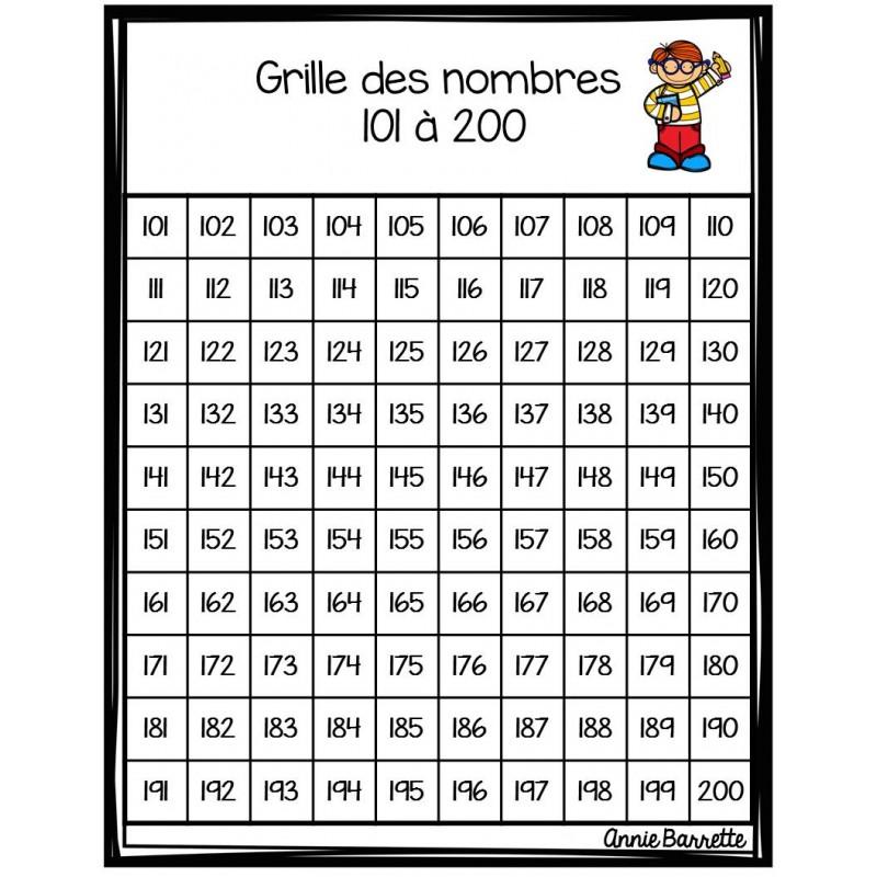 Grille de nombres 0 à 1000