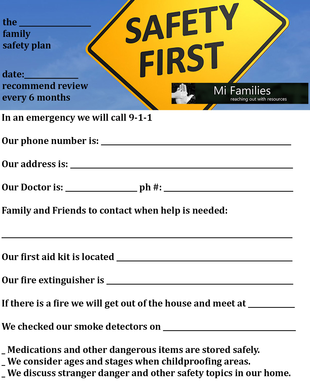 Basic Safety Worksheet