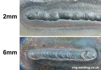 TIG welds on 2mm and 6mm sheet
