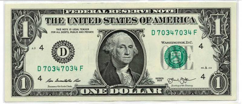 dollar bill with a repeater fancy serial number