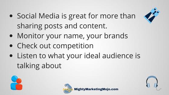 Mighty Marketing Mojo social media listening research tips for solopreneurs