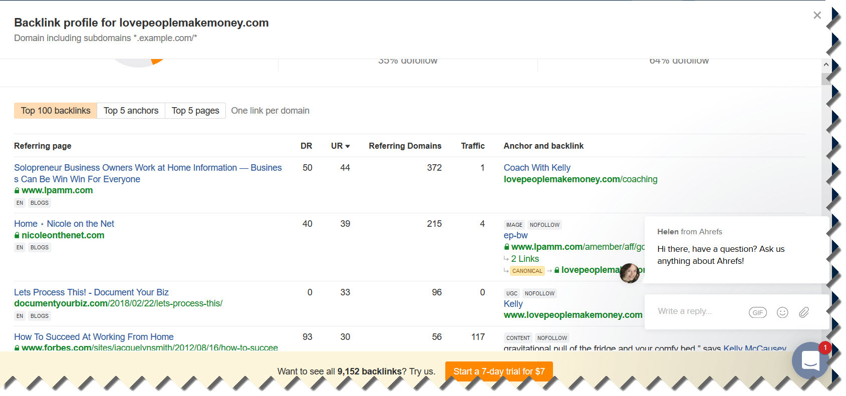 Ahrefs Backlink Domain Checking Snippet