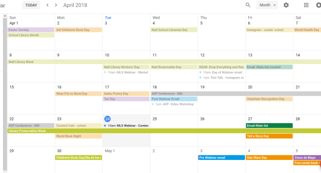 Google Calendar color-coded example