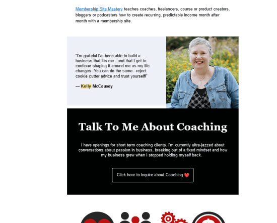 Kelly McCausey Love People and Make Money email ad coaching offer