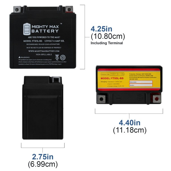 YTX5L-BS Replacement Battery for Honda 150 CRF150F, R 06-16