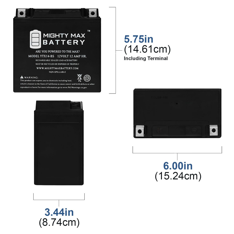 YTX14-BS Replacement Battery for Yamaha 350cc YFM350F U Big Bear 1996