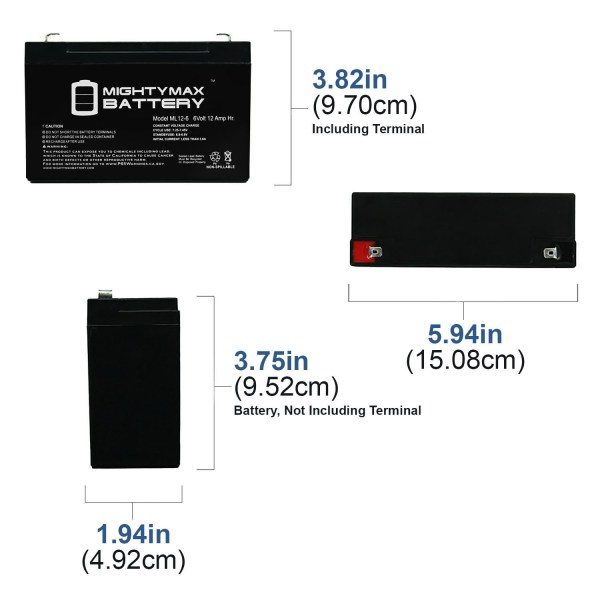 6V 12AH F2 Battery Replacement for APC RBC6 Zeus PC12-12