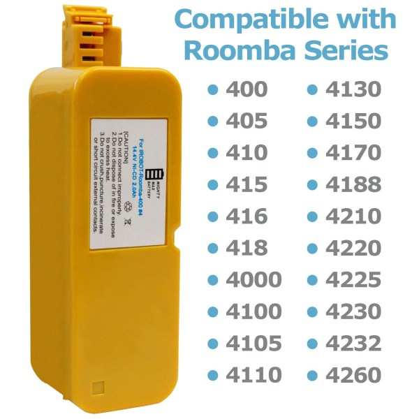 14.4V NiCD Battery for iRobot Roomba 400 4000 Series-NIB 001