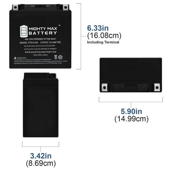YTX16-BS Battery Replaces Kawasaki VN1600-B Vulcan Mean Streak 09