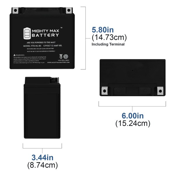 YTX14L-BS – 12V 12AH  200 CCA – SLA Battery