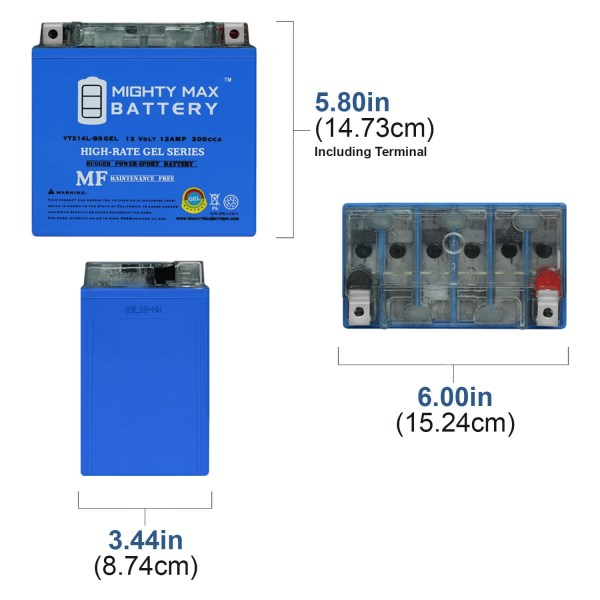 YTX14L-BS GEL – 12V 12AH  200 CCA – Battery