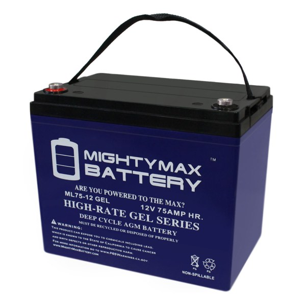 12V 75AH GEL Battery Replacement for Permobil C400 VS Junior