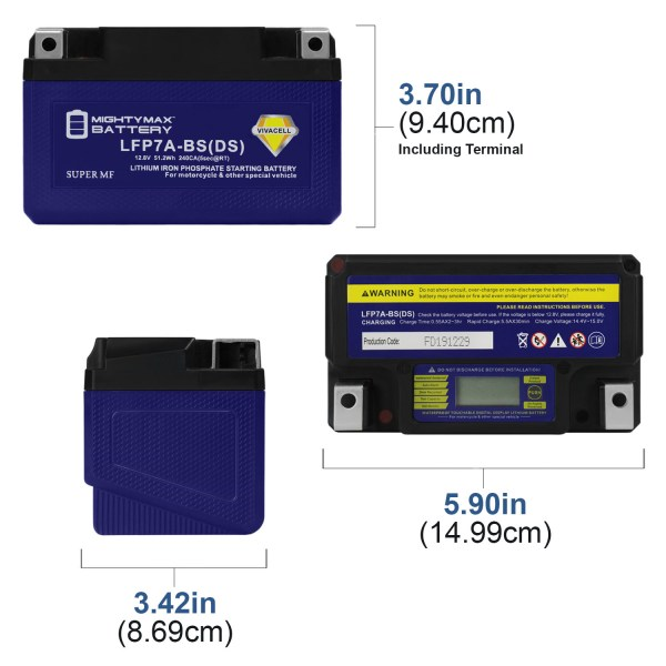 YTX7A-BS 12V 240CCA Lithium Iron Phosphate Battery