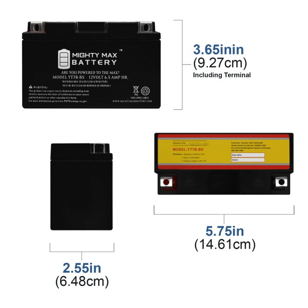 YT7B-BS 12V 6.5AH Sealed AGM Battery for Motorcycle