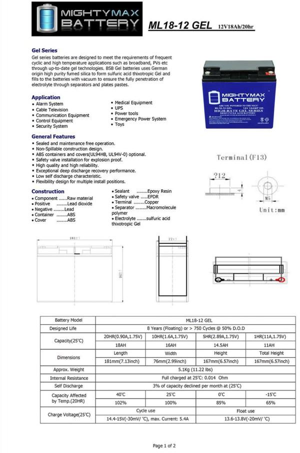 12V 18AH GEL Battery for CAT CJ3000 2000 Peak Jump Starter