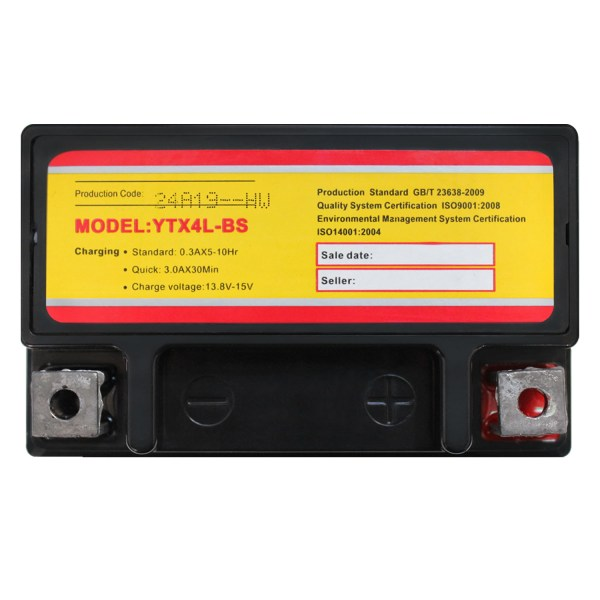 YTX4L-BS 12 VOLT 3AH MOTORCYCLE BATTERY REPLACES YTX4L-BS