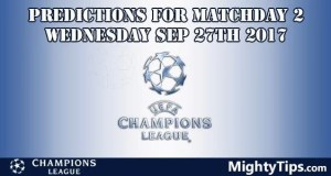 Champions League Wednesday Predictions Matchday 2