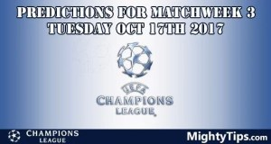 Champions League Tuesday Predictions Matchday 3