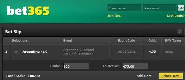 Argentina vs Iceland Bet