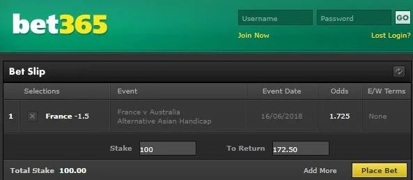 France vs Australia Bet on AH