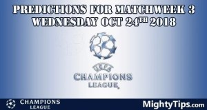 Champions League Matchweek 3 Wednesday Prediction and Betting Tips