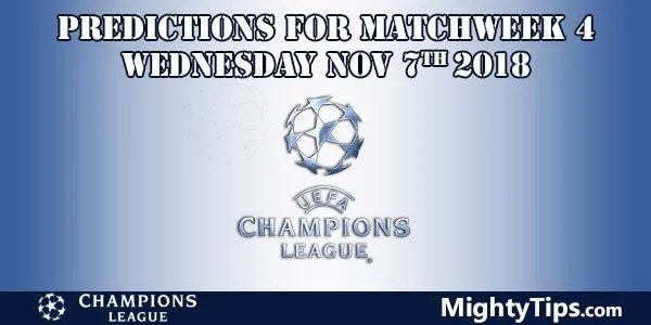Champions League Matchweek 4 Wednesday Prediction and Betting Tips