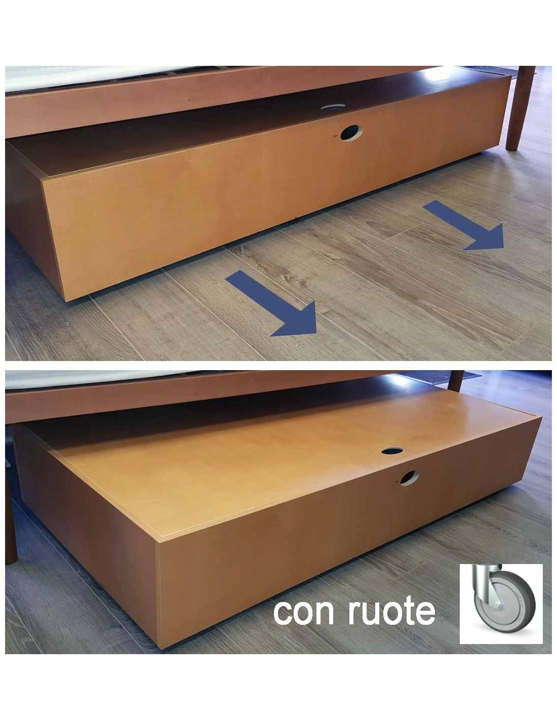 Sotto il letto Cassettone contenitore in legno con rotelle