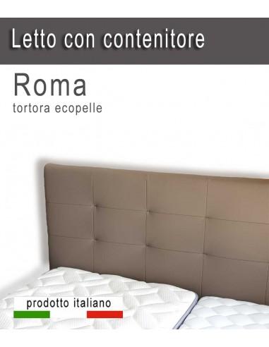 Letto contenitore matrimoniale Roma ecopelle con testiera alta